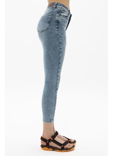 Female Project Açık Mavi Yıpratmalı Yüksek Bel Skinny Jeans Mavi